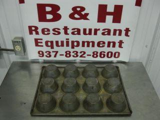 "Chicago Metallic Ekco 12 Cup Cake Muffin Pan 369F 3 3 4"" Top 2 1 4"" Bottom ID"