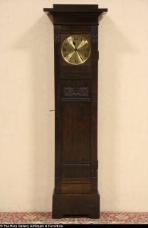Arts Crafts Oak Germany 1900 Tall Case Grandfather Clock
