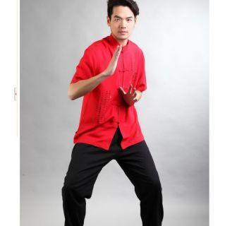 Black Red White Chinese Style Men's Cotton Kung Fu Shirt Tops Sz M L XL XXL XXXL