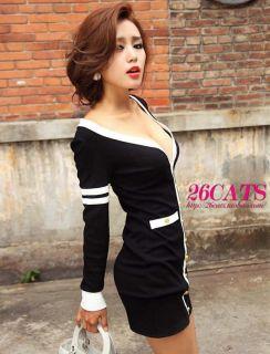 Lady Sexy Long Sleeve V Neck Dress Clubwear Party Cocktail Slim Mini Dress Black