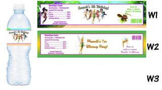 Tinkerbell Fairies Printed Water Bottle Labels Birthday Party Favors Supplies