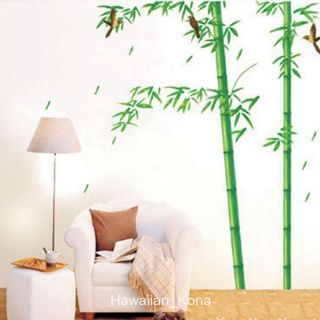 Bamboo Trees Birds Photo Wall Sticker Decal