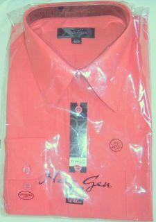 New Gen Men's Dress Shirt Salmon Long Sleeve Convertible Cuff 17 1 2 36 37