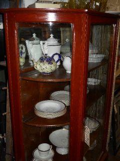 Antique Oak Bowed Glass China Press Cabinet Central VA