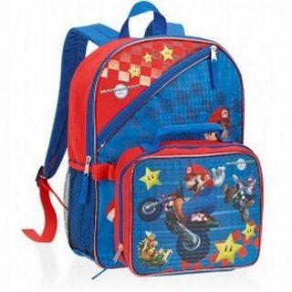 Wii Mario Kart Pixelated Backpack Lunchbox Sport School Travel Back Pack