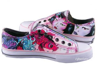 Womens Ed Hardy Lowrise Pink Koi Fish Geisha Shoes 605W