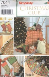 Pattern Sewing Simplicity Home Decor Christmas Treeskirt Gift Bag Stocking