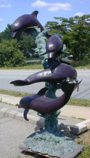 Large Cast Bronze Dolphin Water Fountain
