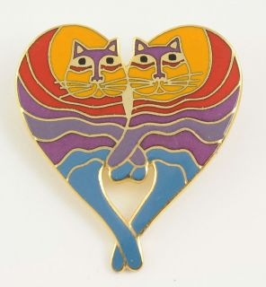 Laurel Burch Gold Tone Rainbow Cat Heart Entwined Paws Tails Pin Brooch