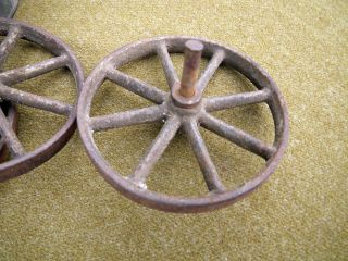 Industrial Antique Cast Iron Wheels Machine Age Steampunk Pull Toy Wagon