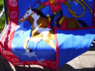Cowboy Roping on Horse Fleece Blanket Double Panels Binding New Blue Back