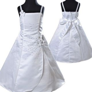 KD183 10 White Girl Party Dress Jacket Petticoat 8 9T