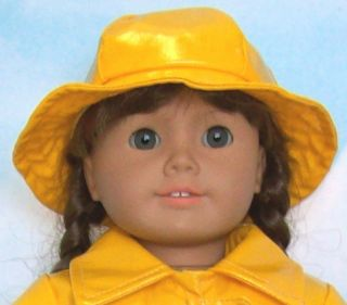 Apryl Doll Clothes Fits American Girl Molly Yellow Slicker Raincoat Hat