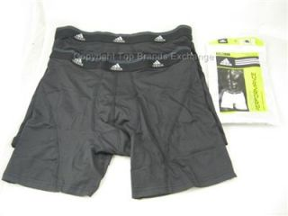 2 Pack Mens Adidas ClimaLite Performance Sport Boxer Brief Underwear Black