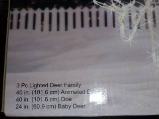 3pc Animated Wire Deer Family 250 Lights Over 3ft Tall Christmas Yard Decor New
