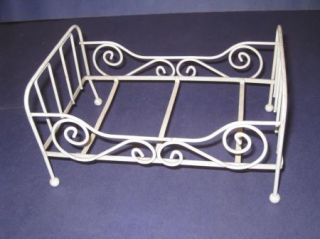 "Vintage 8"" Small Doll Bed White Metal 21P"