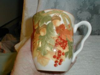 "S 2 222 Fifth Porcelain ""Autumn Celebration"" Coffee Mugs Cups Hand Painted New"