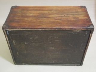 Antique Vintage Oak Wooden Tool Box Chest Filing Drawers Collectors Cabinet