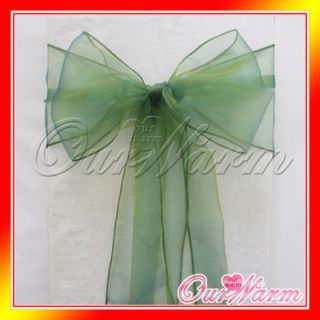 100 Emerald Dark Deep Green Chair Organza Sash Bow Wedding Party Decoration Hot