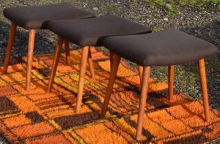 Modern Danish Design Three Oak Stools Panton Era