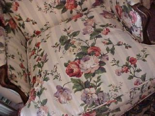 Pair of Country French Wing Chairs Roses Fabric