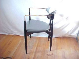 Vintage Mid Century Modern Selig Larsen Drumstick Chair Gray Brass Arms