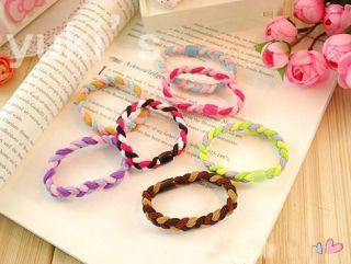 20 Pcs Mix Color Rope Braid Ties Hair Elastic Ponytail Women Girl Accessories