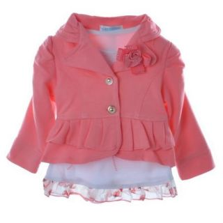 Baby Girls Ruffled Party Jacket Top Coat T Shirt Pants 3pcs Outfit 3 24M Clothes