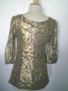 New Without Tags Miss Me Collection Baby Doll Gold Sequin Dress Top Blouse