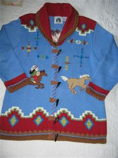 Storybook Knits Galloping Chief Horse Sweater M Indian