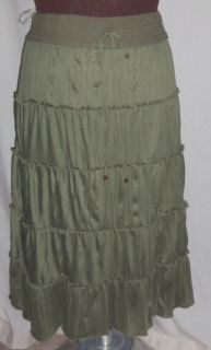 Allison Brittany Olive Green Tiered Skirt Boho 3X Peasant Boho