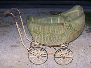 Antique Lloyd Wicker Baby Carriage Buggy Wooden Wheels