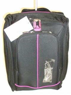 Black Purple 2 Wheeled Lightweight Hand Luggage Cabin Flight Travel Weekend Bag