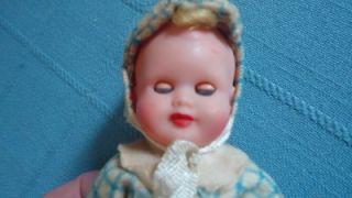 "Vintage Hard Plastic Baby Boy Doll 5"" Made Italy Sleep Eyes Jointed Limbs Cute"
