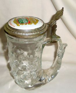 Vtg DAB Dortmunder Beir Beer Stein Mug Glass w Metal Lid Made w Germany