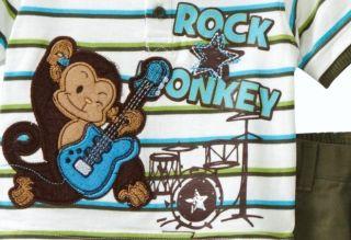 "New Baby Boys ""Rock Star Monkey"" Size 12M Shirt Pants Clothes"