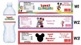 Mickey Mouse Clubhouse Minnie Printed Water Bottle Labels Birthday Party Favors