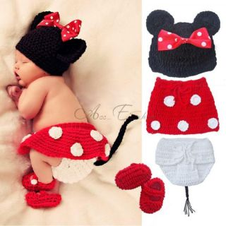 New Baby Boy Girls Crochet Animal Beanie Costume Outfit Set Hat Photo Prop 0 12M