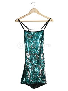 Sexy Blue Sequin Backless Club Wear Clubbing Disco Party Stripper Mini Dress New