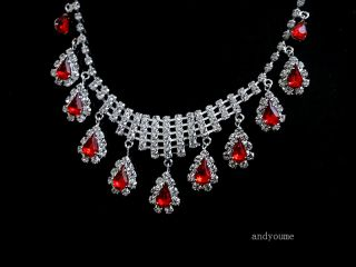 Swarovski Crystal Ruby Wedding Party Bridal Jewelry Set Necklace Earrings 0023D