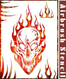 Skull Airbrush Stencil Flame Wall Craft Paint Party T Shirt Decor New 010017Y 9