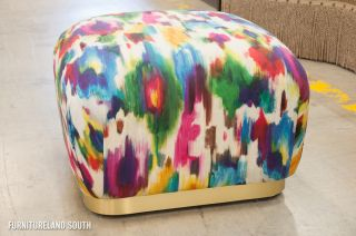 Elite Leather Company Artist's Cloth Multicolored Elvis Pouf Ottoman