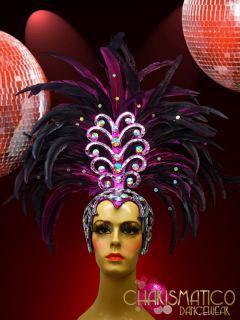 Charismatico Fuchsia Feather Cabaret Samba Rio Carnival Headdress