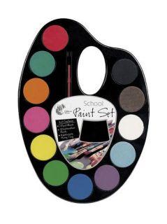 School Paint Set Kit Watercolour Paints Brush Palette Mixing Tray Art Kids