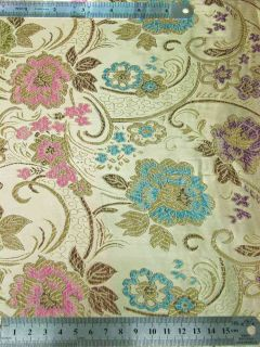 BR200 Golden Floral Chinese Brocade Fabric per Yard