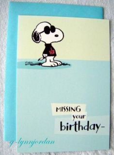 Snoopy Peanuts Joe Cool Belated Birthday Card New
