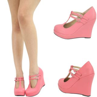 Details about CORAL DOUBLE T ANKLE STRAP MARY JANE WEDGE HEEL PLATFORM