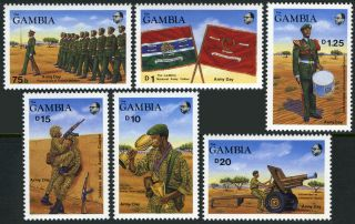 Gambia 808 813 MI 828 833 MNH Army Day Troops Flags Drummer 1989
