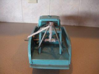 RARE Vintage Buddy L Tow Truck Teal Light Blue Fix My Flat Pressed Steel