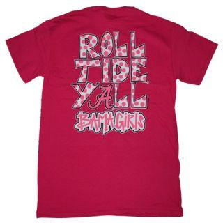 Alabama Crimson Tide Football T Shirts Bama Girls Roll Tide Yall Color Pink